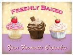 10332 - Trio Cupcakes Cupcake Freshly Baked Metal Steel Cafe Wall Sign Plaque